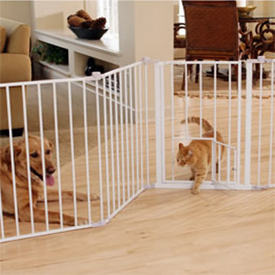 Flexi Walk Thru Metal Gate With Small Pet Door. Zoom Image